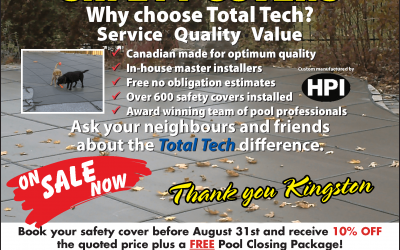Close Your Pool with Confidence: Book Your Safety Cover before August 31st and Receive 10% off the Quoted Price plus a FREE Pool Closing!