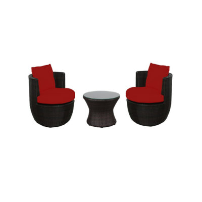 Zambezi 3-Piece Bistro Set , 2 Chairs & 1 Bistro Table - Red - Total Tech Pools Oakville