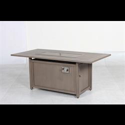 Vida Series Rectangle Aluminum Fire Table, Taupe (50,000 Btu) - Total Tech Pools Oakville