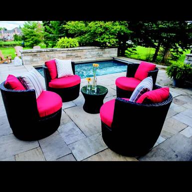Zambezi 5-Piece Bistro Style Set, 4 Chairs & 1 Bistro Table - Sand - Total Tech Pools Oakville