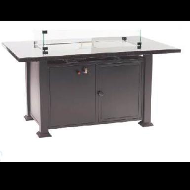 Firepit Table Aluminum Rect Convertible W/ Windscreen - Total Tech Pools Oakville