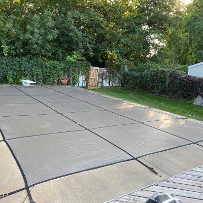 Stock Safety Cover 20x40 5x5 Grid, Concrete, No Step - Grey - Total Tech Pools Oakville
